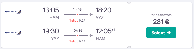 Flights from Germany to Vancouver & Toronto for €281 with a Reykjavik stopover possible! Plus extra flights to Montreal!