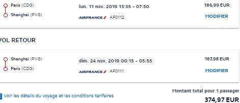 Air France non-stop flights from Paris to China (Shanghai, Beijing, Wuhan) from €375!