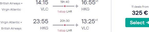 Return flights from Spain, France or Germany to Hong Kong from €325!
