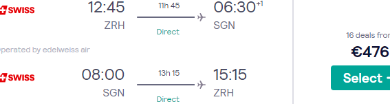 Full Service *non-stop* flights from Zurich to Ho Chi Minh City, Vietnam €476!