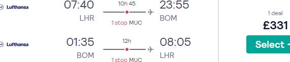 Lufthansa flights from London to Mumbai from £331 return!