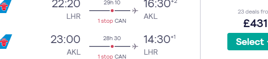 Cheap return flights from London to Auckland, New Zealand from £431!