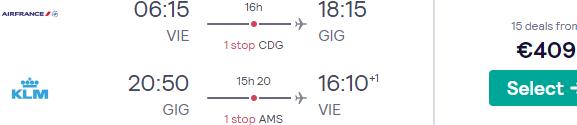 Return flights from Vienna to Brazil (Rio de Janeiro, Sao Paulo) from €409...