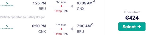 5* Cathay Pacific high season flights Brussels to Thailand (Bangkok, Phuket, Chiang Mai) from €424!