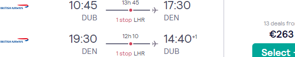 British Airways flights from Dublin to Denver for €263!