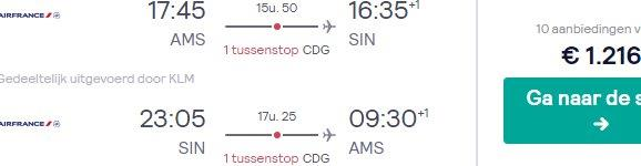 Air France-KLM Business Class flights from Amsterdam to Singapore from €1216!