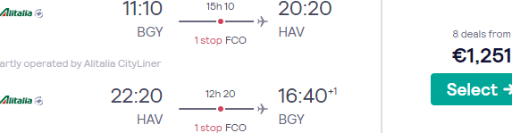 SkyTeam Business Class flights to Havana, Cuba from Italy or Madrid from €1251!