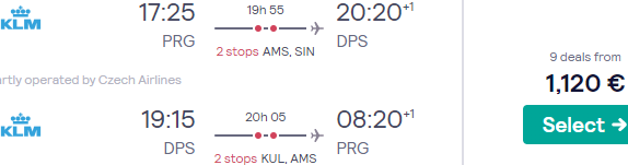 Air France-KLM Business Class flights from Prague to Bali, Indonesia from €1120!