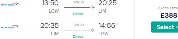 British Airways direct flights from London to Lima £388!