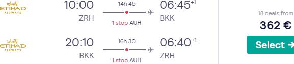 Etihad Airways high season flights from Zurich to Bangkok from €362!