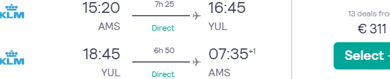 Cheap KLM Amsterdam to Montreal non-stop flights from €273!