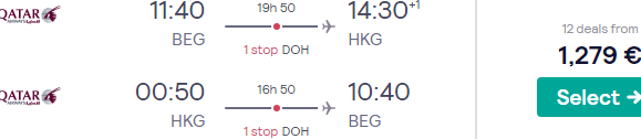 Qatar Airways Business Class flights to Hong Kong from Belgrade or Copenhagen from €1279 (DOH-HKG in Qsuite)