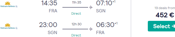 Fly non-stop from Frankfurt to Vietnam from €452!