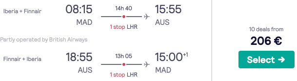 Madrid to Austin, Texas for a great €206! Return flights with British Airways & Iberia!