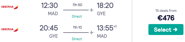 Fly *non-stop* from Madrid to Ecuador (and Colombia) from only €476 return!