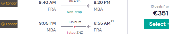 Cheap charter flights from Frankfurt to Mombasa, Kenya for €351!