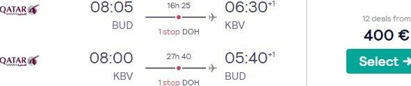 Qatar Airways return flights from Budapest to Thailand (Krabi, Phuket, Chiang Mai) from €400!