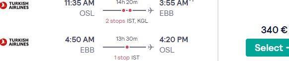 Full-service cheap flights from Oslo to Nairobi, Kenya & Entebbe, Uganda from €340rtn!