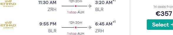Fly from Zurich to India (Bengaluru, New Delhi) from €357 with Etihad!