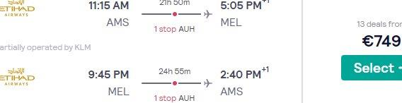 Etihad flights from Amsterdam to Melbourne, Australia from €749...