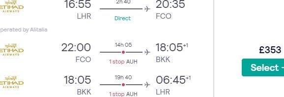 Multi-city flights from London to Bangkok & Rome for £365! (Incl. high season in Thailand)
