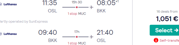 Lufthansa/Swiss Business Class flights to Bangkok from Oslo or France from €1051!
