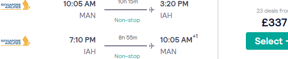 5* Singapore Airlines direct flights Manchester-Houston £337!