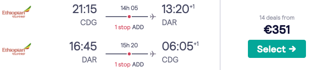 Cheap full-service flights to coastal Dar Es Salaam, Tanzania, for €351 from Paris!