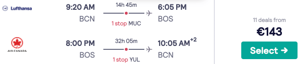 Flights from Spain to Boston from a mega-low €143 return!