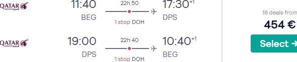 Qatar Airways flights from Belgrade to Bali from €454!
