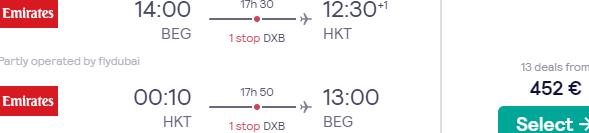 Emirates flights from Belgrade to Phuket or Bangkok from €452 roundtrip!