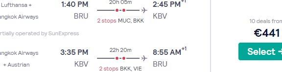 Fly from Brussels to Thailand (Koh Chang, Koh Samui, Krabi, Chiang Mai, Chiang Rai) from €441!