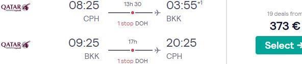 Qatar Airways high season flights from Copenhagen to Bangkok from €373!