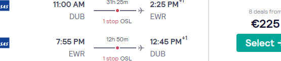 Cheap flights from Dublin to New York from €225! (Long layover in Oslo)