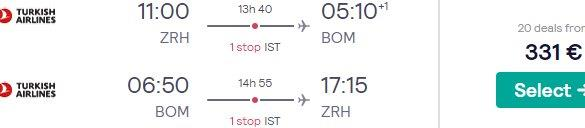 Cheap flights from Zurich to Mumbai, India from €331!