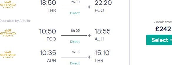 Multi-city flights from London to Rome, Italy & Abu Dhabi, United Arab Emirates for £242!