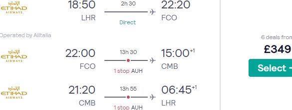 Multi-city flights from London to Sri Lanka & Rome from £349!