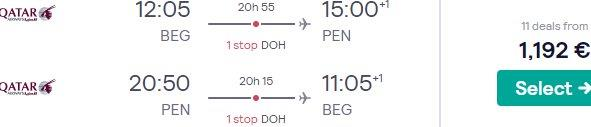Qatar Airways Business Class flights to Penang from Belgrade from €1192!