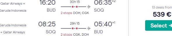 Return flights from Europe to the Indonesian side of New Guinea from £536 or €539!