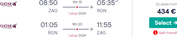 Qatar Airways flights from Zagreb to Yangon, Myanmar for €434!