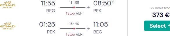 Etihad Airways cheap flights from Belgrade to China from €373!