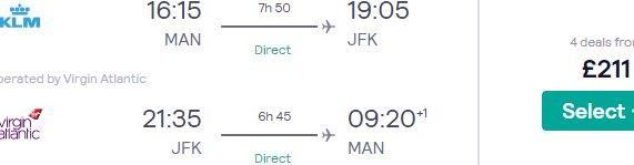 Virgin Atlantic cheap non-stop flights Manchester-New York just £211 return!