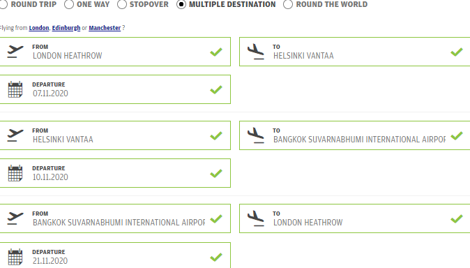 Multi-city full-service Oneworld deal from the UK to Helsinki to Bangkok from only £367!