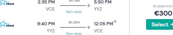 Non-stop flights from Venice to Toronto from €300!