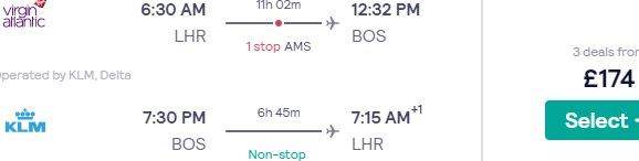 Cheap return flights from London to Boston £174!