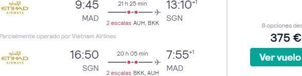 *4 Etihad flight from Madrid to Ho Chi Minh City, Vietnam from €375!