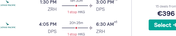 5* Cathay Pacific flights from Zurich to Bali from just €396!