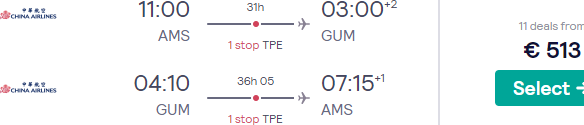 Return flights from Amsterdam to Guam from €513!