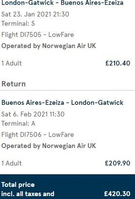 Norwegian non-stop flights from London to Buenos Aires for £420!