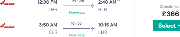Fly *non-stop* from London to India (Bengaluru, Amritsar, Mumbai, New Delhi, Ahmedabad) from only £366 return with 2 bags!